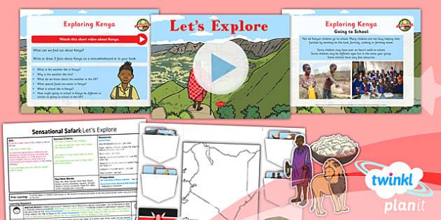 PlanIt - Geography Year 2 - Sensational Safari Lesson 2: Let's Explore Lesson Pack - planit, geography, safari, year 2