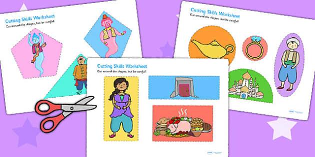 Aladdin Cutting Skills Worksheet - motor skills, traditional tale