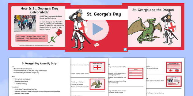 St. George's Day Assembly - george, saint, england, english, story, legend, hero, patron, ks1, year 1, y1, year 2, y2, key stage 2, assembly, assemblies, ppt, powerpoint, script