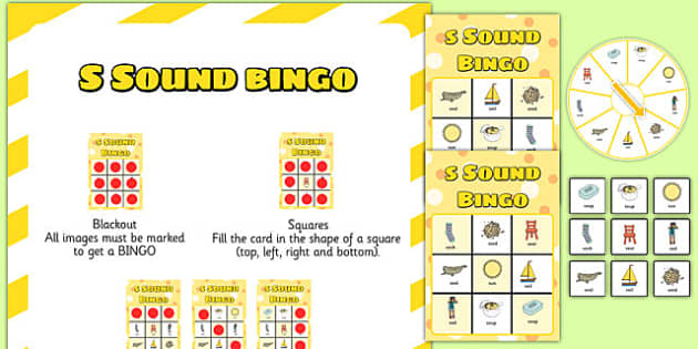 s Sound Bingo Game with Spinner - sounds, sound games, bingo, s sound