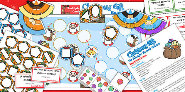 2D Shape Christmas Board Game - christmas, board, game, shape, 2d