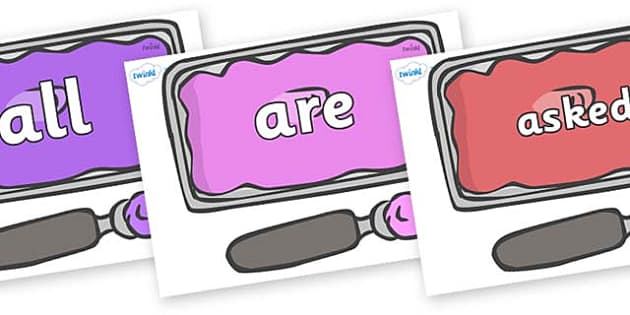 Tricky Words on Ice Cream Tubs - Tricky words, DfES Letters and Sounds, Letters and sounds, display, words