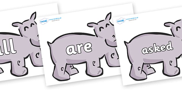 Tricky Words on Hippos - Tricky words, DfES Letters and Sounds, Letters and sounds, display, words