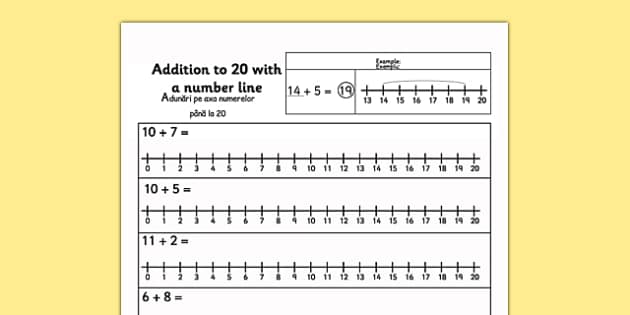 Addition to 20 with a Number Line Activity Sheet Romanian Translation - romanian, number line, worksheet