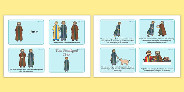 The Prodigal Son Story Sequencing (4 per A4) - The Prodigal Son, son, father, prodigal, the lost son, lost, sequencing, story sequencing, story resources, A4, cards, 4 per A4, coming back, father and son, jealous, pigs, inheritance, return, party, fe