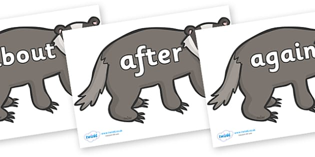 KS1 Keywords on Badgers - KS1, CLL, Communication language and literacy, Display, Key words, high frequency words, foundation stage literacy, DfES Letters and Sounds, Letters and Sounds, spelling