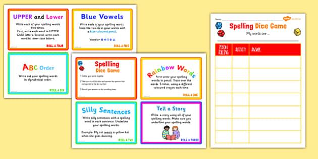 Spelling Dice Activity - spelling, dice, activity, game, class, challenge