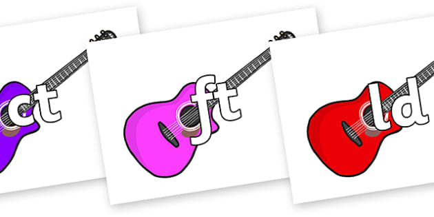 Final Letter Blends on Guitars - Final Letters, final letter, letter blend, letter blends, consonant, consonants, digraph, trigraph, literacy, alphabet, letters, foundation stage literacy