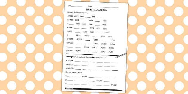 Counting in 1000 Worksheet - counting, 1000, worksheet, sheet