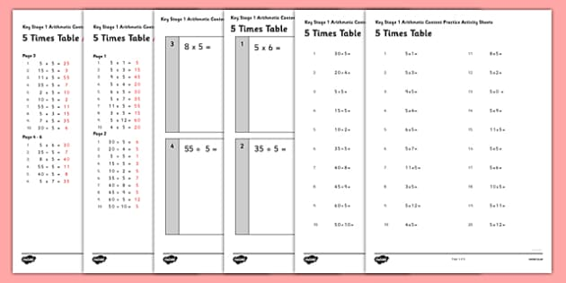 KS1 Arithmetic Content Practice Activity Sheet Pack Recalling the 5 Times Table - Maths, KS1, Key Stage 1, Arithmetic, times tables, multiplication tables, worksheet