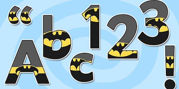 Bat Superhero Themed Display Lettering - display lettering, superhero
