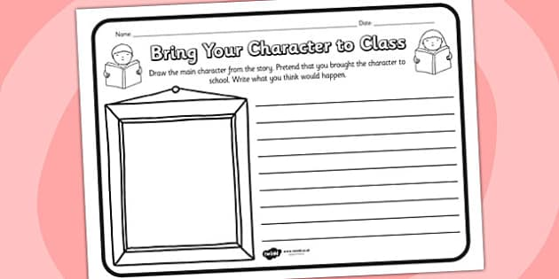 Bring Your Character To Class Comprehension Worksheet - bring your character to class, comprehension, comprehension worksheet, character, discussion prompt