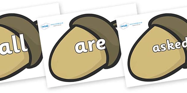 Tricky Words on Brown Acorns - Tricky words, DfES Letters and Sounds, Letters and sounds, display, words