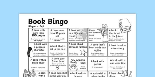 Book Bingo Activity Sheet Romanian Translation-Romanian-translation, worksheet
