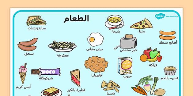 بساط كلمات عن الطعام - مفردات، موارد، وسائل تعليمية