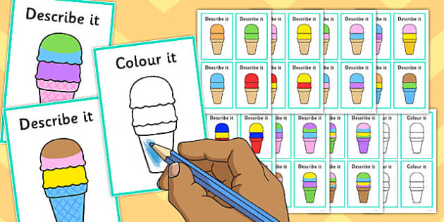 Describe It Colour It Ice Cream Game - describe it, colour, ice cream