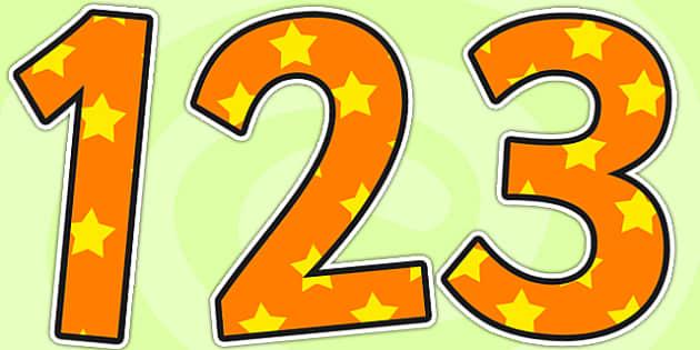 Orange and Yellow Stars Display Numbers - stars, display numbers, display lettering, numbers for display, cut out numbers, display letters, number, display