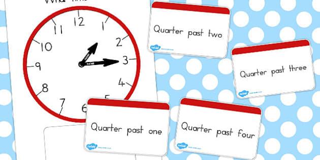 Analogue Clocks Quarter Past Matching - australia, quarter, match