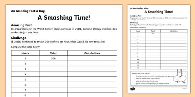 A Smashing Time Activity Sheet, worksheet