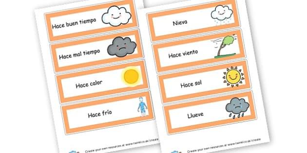 Spanish Weather Word Cards - KS2 Languages Primary Resources, Languages Resources, Languages