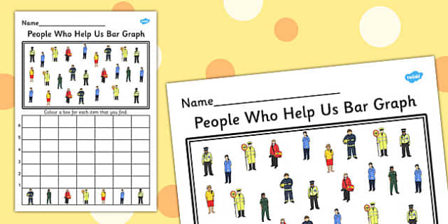 People Who Help Us Bar Graph Activity Worksheet - graph, activity