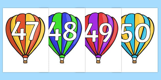 Numbers 0-50 on Hot Air Balloons (Stripes) - Hot Air Balloon, Foundation Numeracy, Number recognition, Number flashcards, 0-100, A4, display numbers