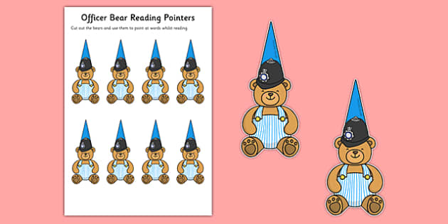 Officer Bear Reading Pointers - Officer Bear, reading, point, pointer, help, support