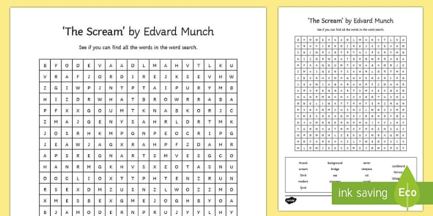 The Scream by Edvard Munch Word Search - the scream, edvard munch, paint, painting, painter, artist, famous, word search