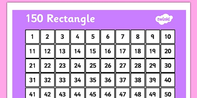150 Number Rectangle - rectangle, 150, numbers, grid, number grid, grid
