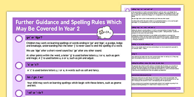 Parent Guidance for Spelling in Year 2 - spell, guide, words