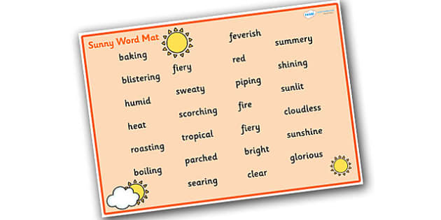 Weather and Seasons Sunny Word Mat - weather and seasons, weather and seasons word mat, sunny word mat, weather word mat, sunny weather word mat, sunny