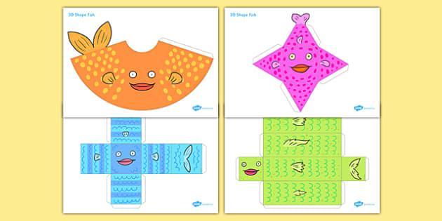 3D Shape Fish - 3d shape, fish, paper, craft, model, prop, 3d