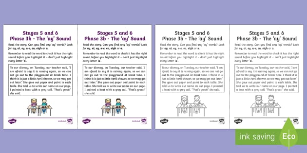 Northern Ireland Linguistic Phonics Stage 5 and 6 Phase 3b, 'ay' Sound Activity Sheet - Linguistic Phonics, Phase 3b, 'ay' sound, investigation, sound search, Northern Ireland, worksheet