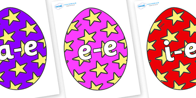 Modifying E Letters on Easter Eggs (Stars) - Modifying E, letters, modify, Phase 5, Phase five, alternative spellings for phonemes, DfES letters and Sounds