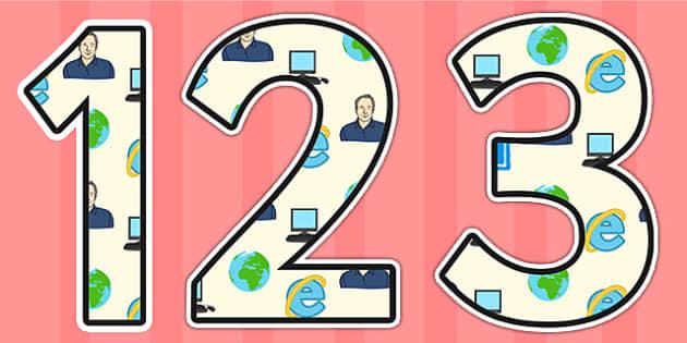 Tim Berners Lee Themed Display Numbers - tim berners lee,  display numbers, themed number, classroom number, numbers for display, numbers for display, display