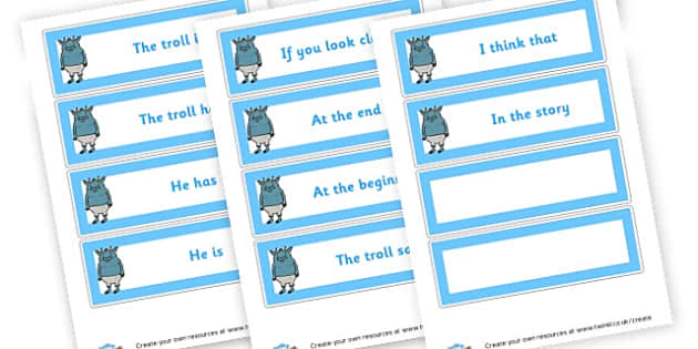 Troll Character Description Cards - Character Description Writing Frames Primary Resources, Characters