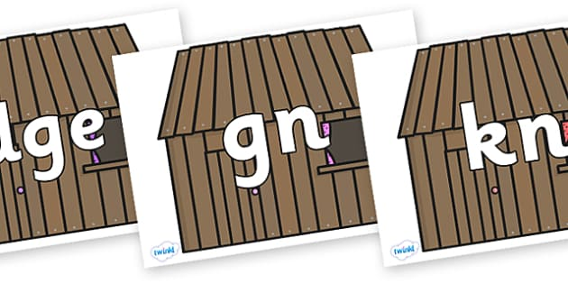 Silent Letters on Wooden Houses - Silent Letters, silent letter, letter blend, consonant, consonants, digraph, trigraph, A-Z letters, literacy, alphabet, letters, alternative sounds