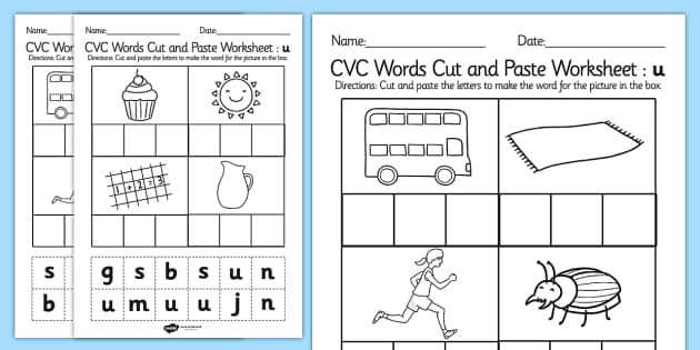 CVC Words Cut and Paste Worksheets u - CVC worksheets, CVC