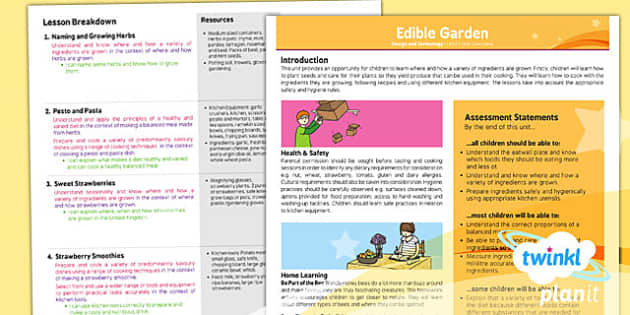 PlanIt - Design and Technology LKS2 - Edible Garden Planning Overview