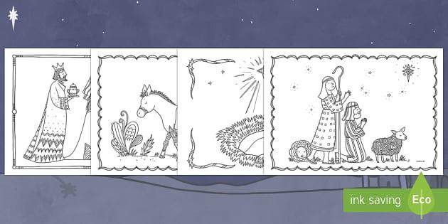 Stori'r Geni y Nadolig Taflenni Lliwio Ymwybyddiaeth Ofalgar - Christmas Wales - Welsh Medium, Welsh