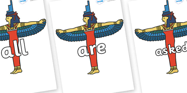 Tricky Words on Egyptians - Tricky words, DfES Letters and Sounds, Letters and sounds, display, words