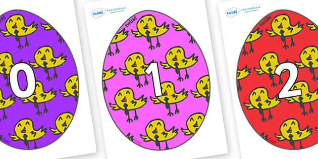 Numbers 0-31 on Easter Eggs (Chicks) - 0-31, foundation stage numeracy, Number recognition, Number flashcards, counting, number frieze, Display numbers, number posters
