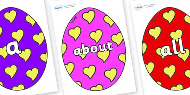 100 High Frequency Words on Easter Eggs (Hearts) - High frequency words, hfw, DfES Letters and Sounds, Letters and Sounds, display words