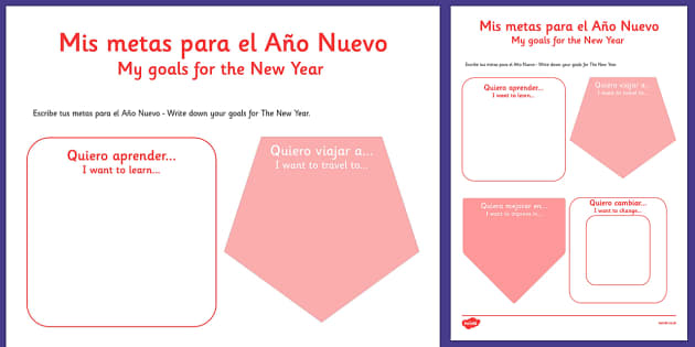Mis metas para el Año Nuevo Spanish Activity Sheet Translation - spanish, New Year's, resolutions, goals, metas, propósitos, escribir, Spanish, Español, dictionary, worksheet