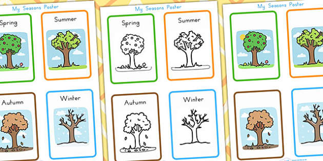 My Seasons Poster - seasons, weather, display, months, years, day