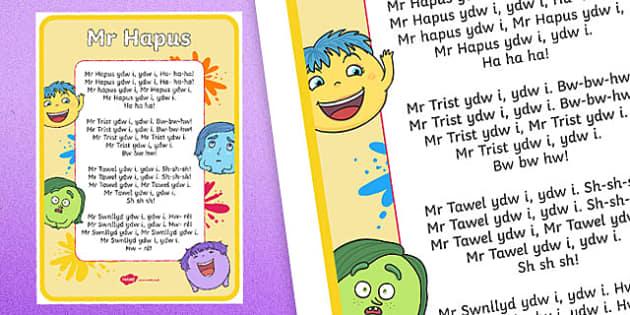 Mr Happy Welsh Second Language Song Lyrics - Welsh