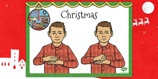 A4 British Sign Language Sign for Christmas - sign, christmas