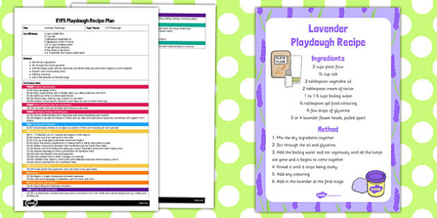 EYFS Lavender Playdough Plan and Recipe Pack - playdough, recipe