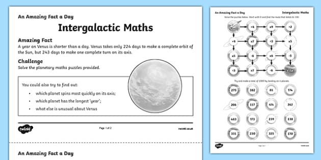 Intergalactic Maths Activity Sheet, worksheet