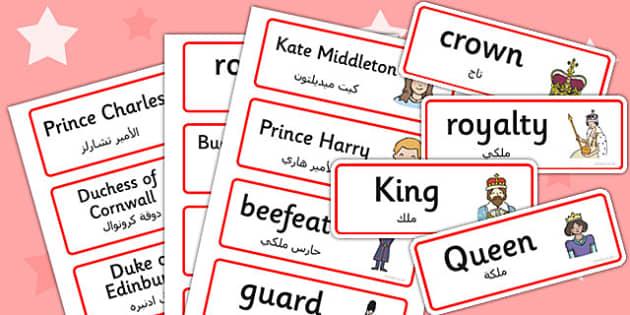 Royal Family Topic Cards Arabic Translation - arabic, royal family